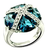 Sterling Silver 925 STATEMENT Ring GENUINE LONDON BLUE TOPAZ 13.50 Carats with RHODIUM-PLATED Finish (8)