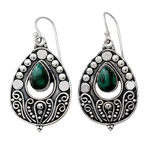 NOVICA Malachite .925 Sterling Silver Dangle Earrings 'Jaipuri Princess'