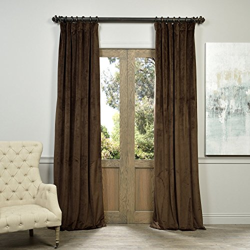 Half Price Drapes VPCH-190912-96 Signature Blackout Velvet Curtain, Java, 50 X 96