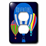 3dRose Alexis Design - Hot Air Balloon - Three colorful hot air balloons, blue background, text Adventure - Light Switch Covers - 2 plug outlet cover (lsp_272448_6)