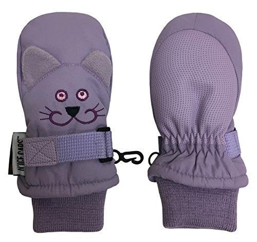 N'Ice Caps Little Girls and Baby Cute Animal Faces Waterproof Winter Mittens