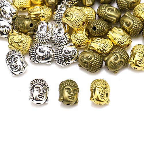 (JETEHO 60 pcs Buddha Head Beads Metal Beads for Bracelet Jewelry Marking)