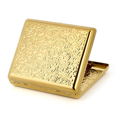 (Pure Copper Embossed Arabesque Metal Cigarette Case Cardcase for 100's Cigarettes (Gold))