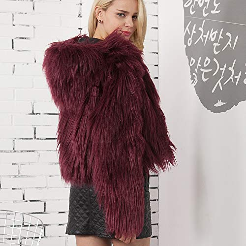 Ladies Elegant Color Top Gradient Red Oversized Coat Parka Wine Winter Warm Autumn Artificial Jacket Coat Women Winter Cardigans Fur Jackets Warm Hooded Jacket Warm Moonuy Faux Windbreaker qApqZw8