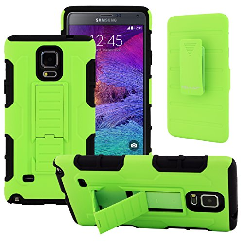 Galaxy Note 4 Case, CellJoy [Robot Armor] Hybrid Kick Stand Case with Belt Clip Holster For Samsung Galaxy Note 4 IV N910, Heavy Duty ProtectionShockproof (Lime Green)