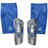 adidas Performance Messi 10 Pro Shin Guard, Large, Silver Metallic Grey/Shock Blue