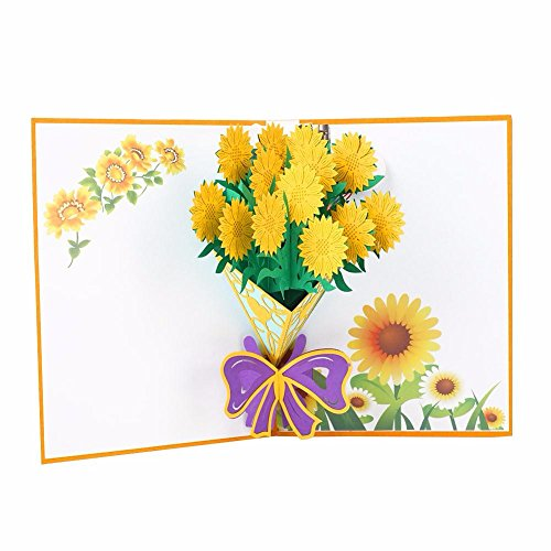 (3D Floral Pop Up Card and Envelope - Funny Unique Pop Up Greeting Card for Birthday, Mother's Day, New Year, Anniversary, Valentine, Wedding, Graduation, Thank You. Yellow Flower Bouquet)