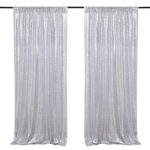 2FTx8FT Silver Sequin Backdrops Party Wedding Photo Booth Backdrop Decoration Glitter Sequin Curtains Drape]()