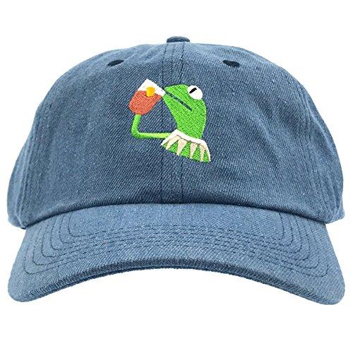 Kermit The Frog Dad Hat Cap Sipping Sips Drinking Tea Champion Lebron Costume (Denim) Adjustable Strapback Frog Denim