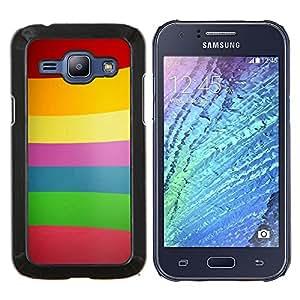 LECELL--Funda protectora / Cubierta / Piel For Samsung Galaxy J1 J100 -- Patrón de las líneas de color --
