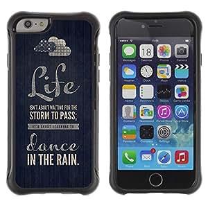 Híbridos estuche rígido plástico de protección con soporte para el Apple iPhone 6 (4.7) - quote dance text motivational black