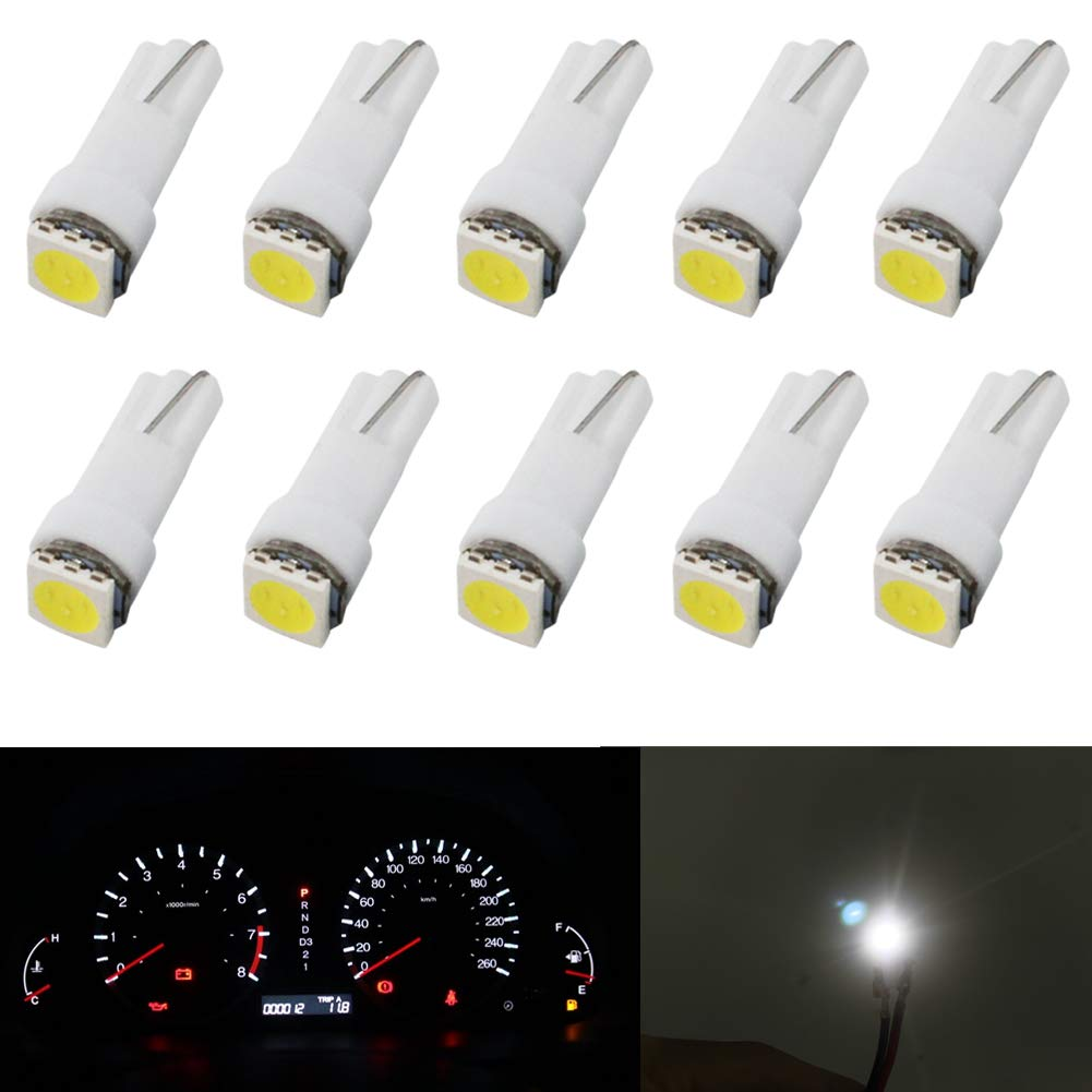 T5 Led Dashboard Bulb White 12V Car Led Wedge Bulbs 1-SMD 5050 Replace 74 37 286 18 27 (Pack of 10) jose201606
