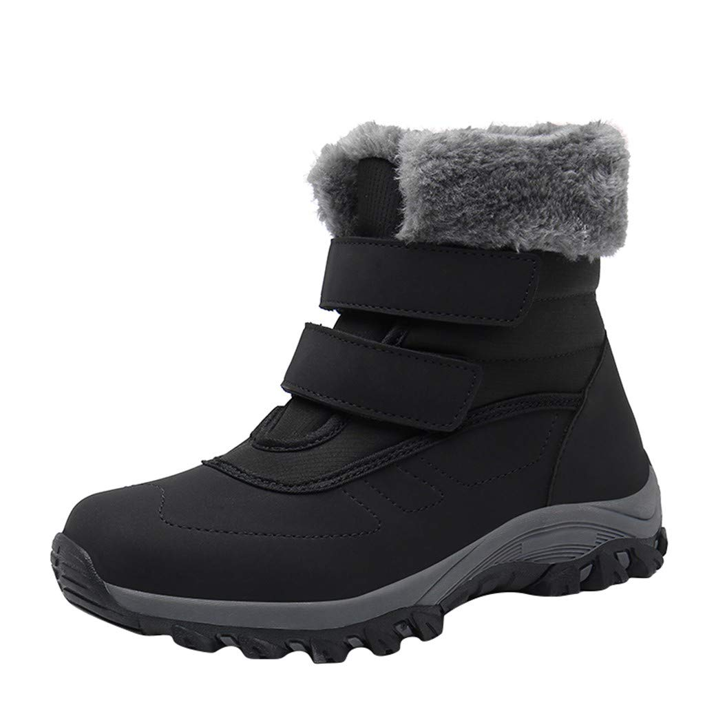 Women Warm Snow Boots Outdoor Anti-Slip Soft Sole Ankle Booties Waterproof Slip on Sneakers Fur Lining Comfy Shoes (US:9, Black) by Dasuy