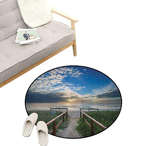 - Beach Custom Round Carpet ,Entry to The Beach with Leading Handrails Surrounded by Bushes Sunrise Cloudy Weather, Dorm Room Bedroom Home Decorative 23