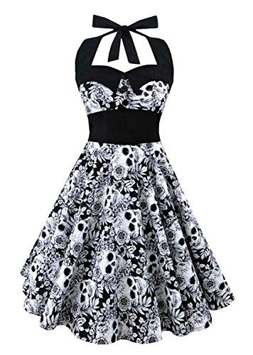 Women Summer Vintage Skull Print Dress Halloween Party Dress Plus Size size XXXXL (Black) - Plus Size Skull Dresses For Women