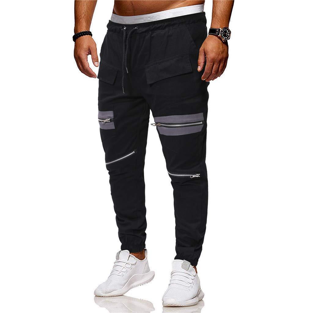 Alalaso Mens Gym Jogger Pants Training Workout Slim fit Sweatpants Causal Leg Zipper Black