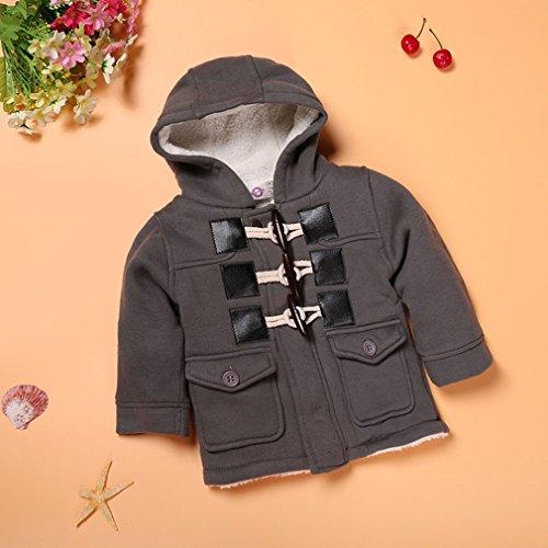 110 Cm Hood (OrliverHL Children's Vintage Winter Horn Buckle Outerwear Hood Outdoor Casual Coat,Gray,110cm)