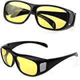 853301a76c3d GaoCold Unisex HD Night Vision Driving Sunglasses Yellow Lens Over Wrap  Around Glasses