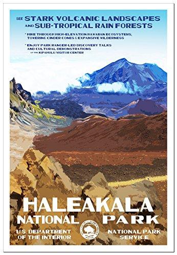 "Haleakala National Park Poster - Original Artwork - 13"" x 19"" by Rob Decker - WPA Style"