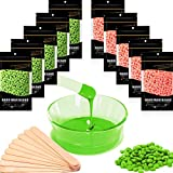 Waxkiss Wax Beans 1000g Hard Wax Beads with 50 Wax Sticks Applicator Home Wax Kit for Body Hair Removal Workable for Sensitive Skin