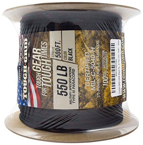 TOUGH-GRID 550lb Black Paracord/Parachute Cord - 100% Nylon Genuine Mil-Spec Type III Paracord Used by The US Military - Great for Bracelets and Lanyards - Made in The USA. 1000Ft. - Black by TOUGH-GRID (Image #8)