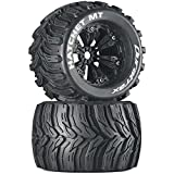 """Duratrax Hatchet MT 3.8"""" RC Monster Truck Tires with Foam Inserts, CS Sport Compound, Mounted on 1/2"""" Offset Black Wheels (Set of 2)"""