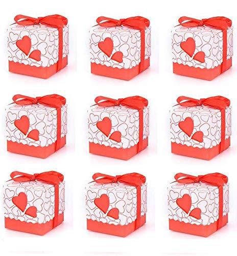 50 x Cajas detalles boda con cintas para bombones caramelos ...