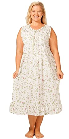 7bf315ac8b7 La Cera Women s Sleeveless Plus Size Nightgown 1X White Blooming Vines