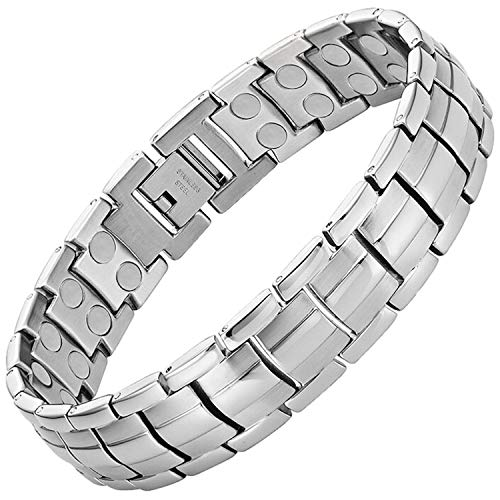 MagnetRX® Ultra Strength Magnetic Therapy Bracelet - Arthritis Pain Relief and Carpal Tunnel Magnetic Bracelets for Men - Adjustable Length with Sizing Tool (Silver)