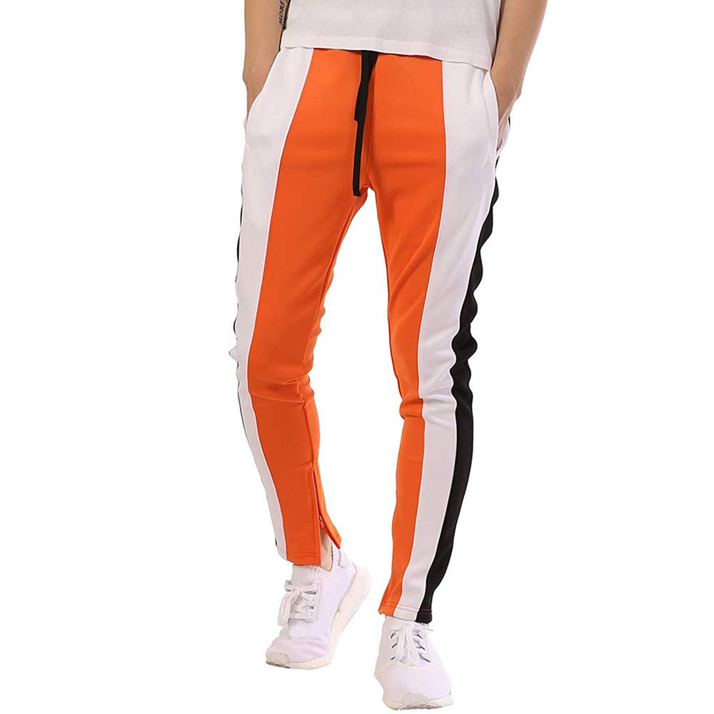 Mens Hip Hop Premium Slim Fit Track Pants - Athletic Jogger Bottom with Side Taping (Orange, XXXL)