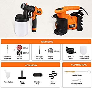 TACKLIFE Paint Sprayer, Powerful 800W HVLP Spray Gun with 2 Pcs 1200ml Container, 3 Copper Nozzles Spray Paint Gun Allowing 110 Din-s Viscosity, Easy Spraying and Cleaning, SGP16AC