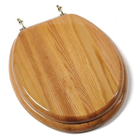 Comfort Seats Designer Solid Oak Wood | Round Toilet Seat with Anti-Microbial and Brass Hinges