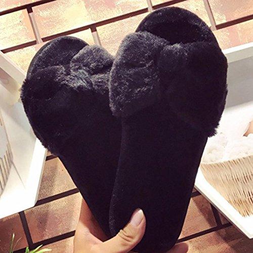 Hausschuhe damen Kolylong® Frauen Herbst Winter Warm Plüsch Hausschuhe Weich Flacher Pantoffel Flip Flop Sandalen Home Shoes Lazy Schuhe Schwarz