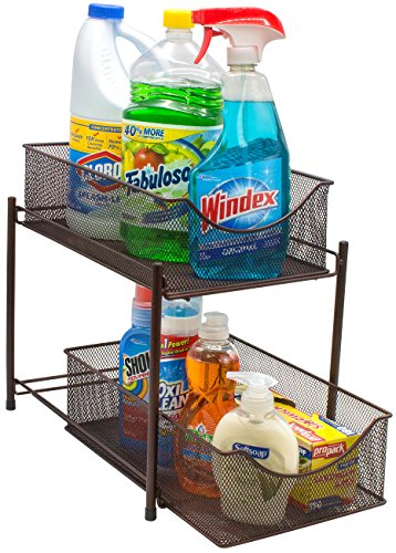 (Sorbus 2 Tier Baskets with Mesh Sliding Drawers —Ideal Cabinet Countertop, Pantry, Under The Sink, and Desktop Organizer for Bathroom, Kitchen, Office, etc Brown)