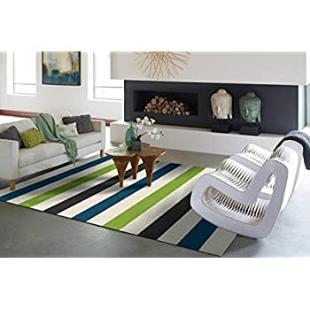 Amazon Com Modern Green Gray Blue White Shag Area Rugs