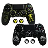Silicone PS4 Controller Skin - Case for Sony PlayStation 4 Controller with Matching Thumb Grips, 2 Sets Totem pattern from LZETC