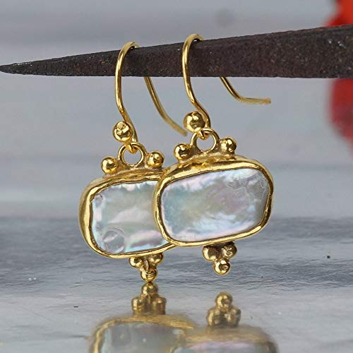 Omer Sterling Silver Handmade Rectangle Pearl Earrings W/Hook 24k Yellow Gold Vermeil (Earrings Vermeil Pearl Silver Hook)