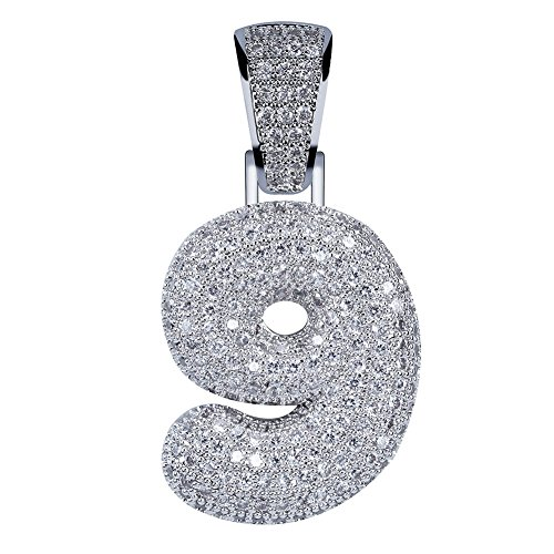 HECHUANG Platinum-Plated Micropave Iced Out Bling 0-9 Number Pendant with Rope Chain (9 Silver, 24) (Pendants Number Silver)