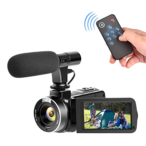 Full HD Camcorder 1080p Digital Camera 30FPS Video Camera for YouTube Vlogging Camera with Microphone and Remoter