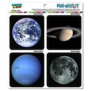 Graphics and More Planets in Space Earth Moon Saturn Neptune Mag-Neato's Automotive Car Refrigerator Locker Vinyl Magnet Set by Graphics and More