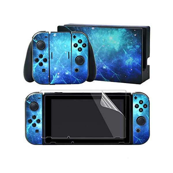 eXtremeRate Full Set Faceplate Skin Decal Stickers for Nintendo Switch/NS with 2Pcs Screen Protector (Console & Joy-con & Dock & Grip) (Blue Galaxy) 1