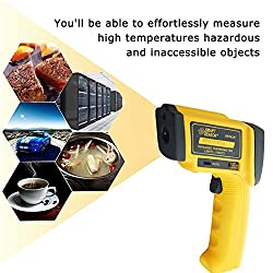 Jklnm Non-Contact Digital Laser IR Infrared Thermometer Instant Read Temperature -18?-1500? 0?-2732? with LCD Display Low Battery Indication Digital Instant Read Yellow
