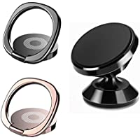Magnetic Car Mount Holder, Universal Stylish 360° Rotation Car for Iphone 7 7 Plus 8 X , Galaxy Tablet,Fit For Magnetic Car Mount, 360°Finger Ring Holder (2Phone Stand+1Car Mount)