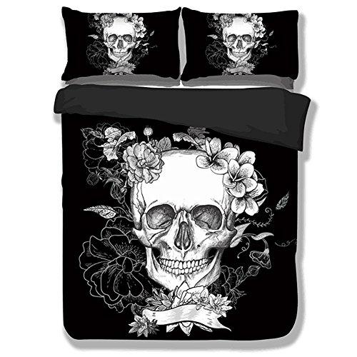 Cheap KTLRR 3D Black and White Era Skull Bedding Sets Polyester Modern Flower Skull Duvet Cover Set,Europe UK US Size,Halloween Christmas Gift (US twin, skull)