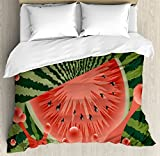 Summer Duvet Cover Set by Ambesonne, Beach Fruit Vegetarian Garden Health Life Hot Season Image, 3 Piece Bedding Set with Pillow Shams, Queen / Full, Olive Green Dark Coral Hunter Green