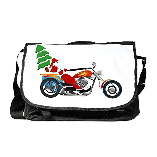Truly Teague Laptop Notebook Messenger Bag Holiday Biker Santa on his Motorcycle / Chopper