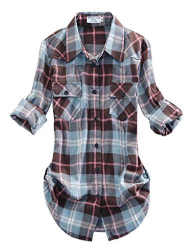 Match Women's Long Sleeve Plaid Flannel Shirt #2021(X-Large, Checks#13)