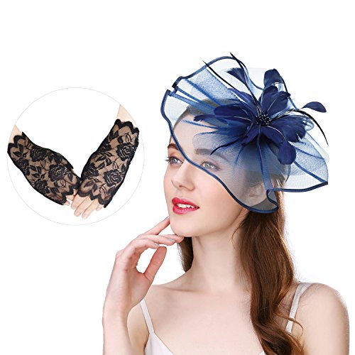 U-Zomir Fascinator Hat Feather Mesh Party Hat Flower Wedding Derby Cocktail Tea Party Headband with Clip and Lace Glove for Girls and Women (Style 1-Navy) by U-Zomir