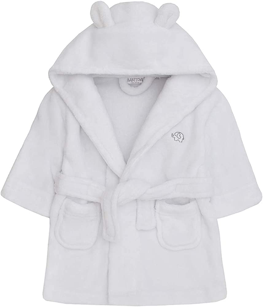 Baby Dressing Gown Lamb Soft Fleece Bath Robe Boys Girls Toddler 6-24 Months