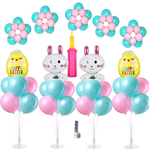 4 Sets of Clear Balloon Stand Kit with 7 Sticks 7 Cups and 1 Base Table Desktop Holder Balloon Decoration for Birthday Party Wedding Party Event with 1 Pump -